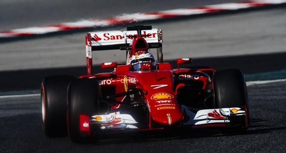 raikkonen ferrari test barcelona f1 2015